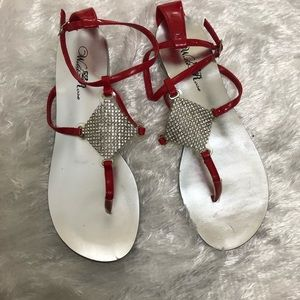 Wild Rose Flat red Strap Sandals size 7.5